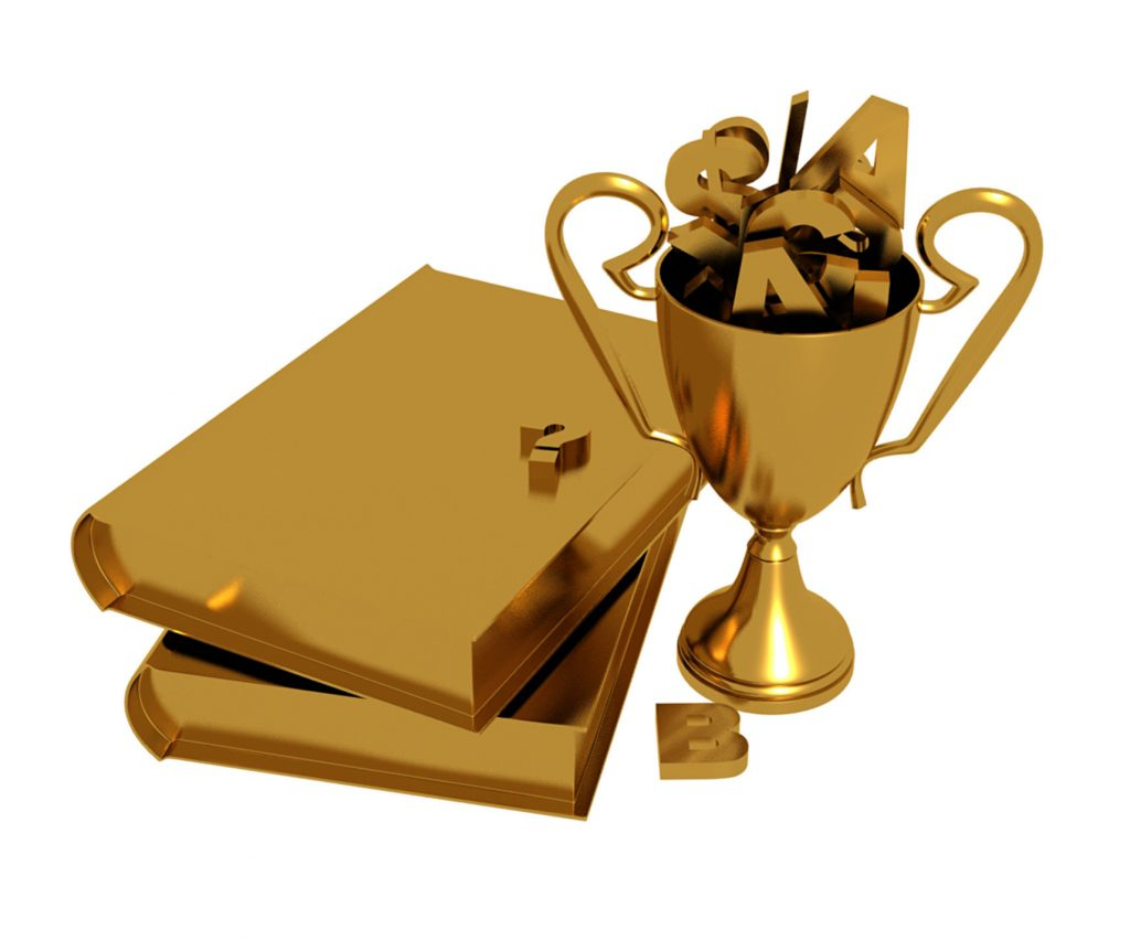 trophy excellence financial library books award