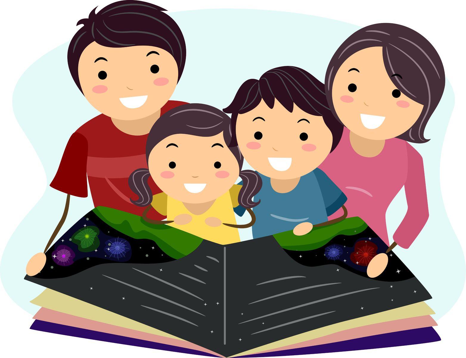 семья читает книги картинки на прозрачном фоне включены